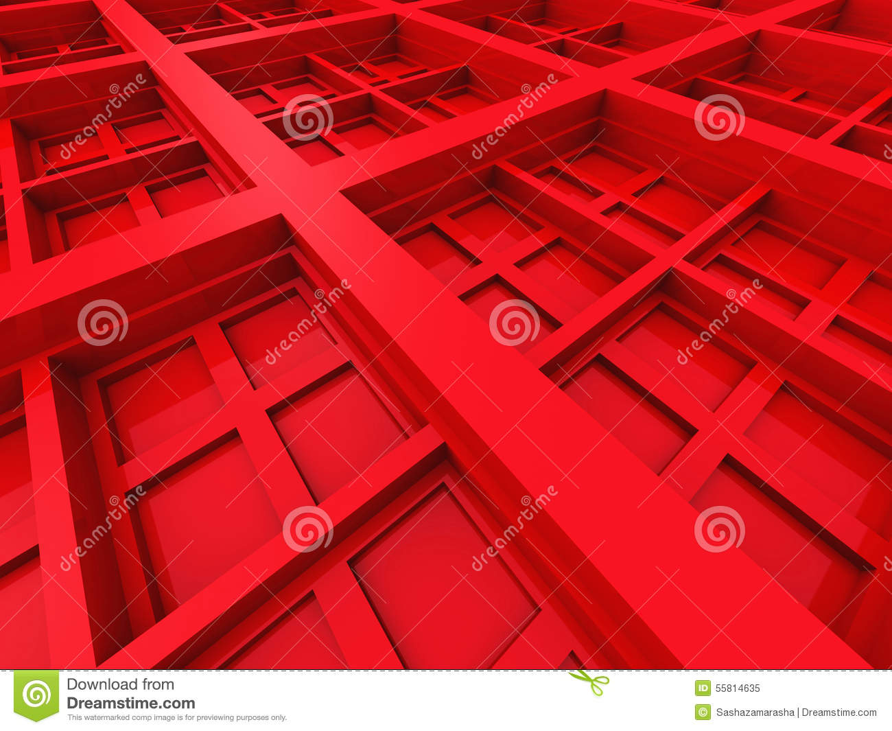 Abstract Square Design Architecture Red Background Stock ...