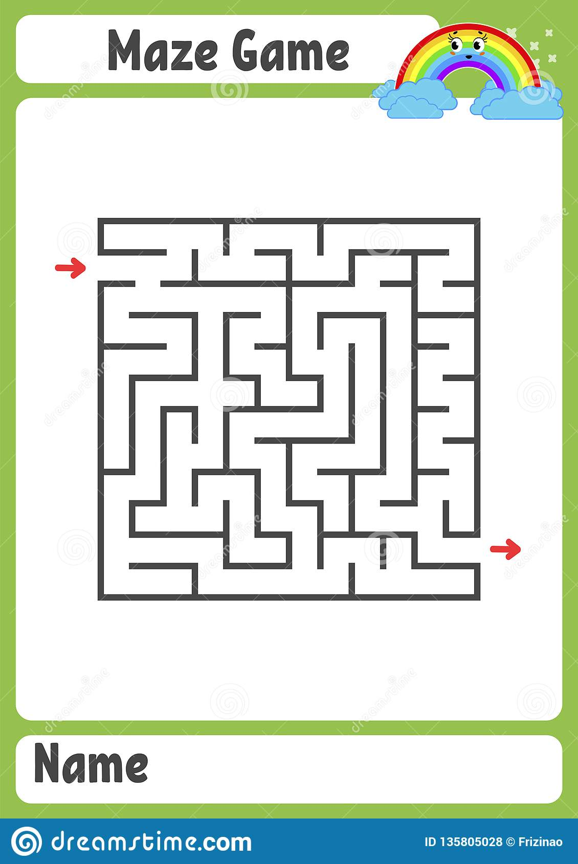 Abstract Square Maze  Kids Worksheets  Activity Page  Game Puzzle
