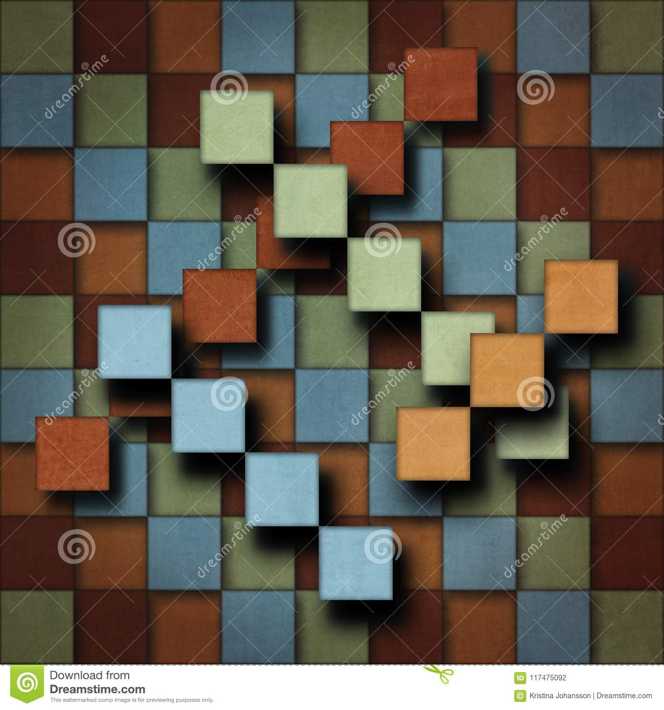 abstract square pattern in subdued retro colors with an illusion of flying squares stock illustration illustration of green multicolored 117475092 dreamstime com