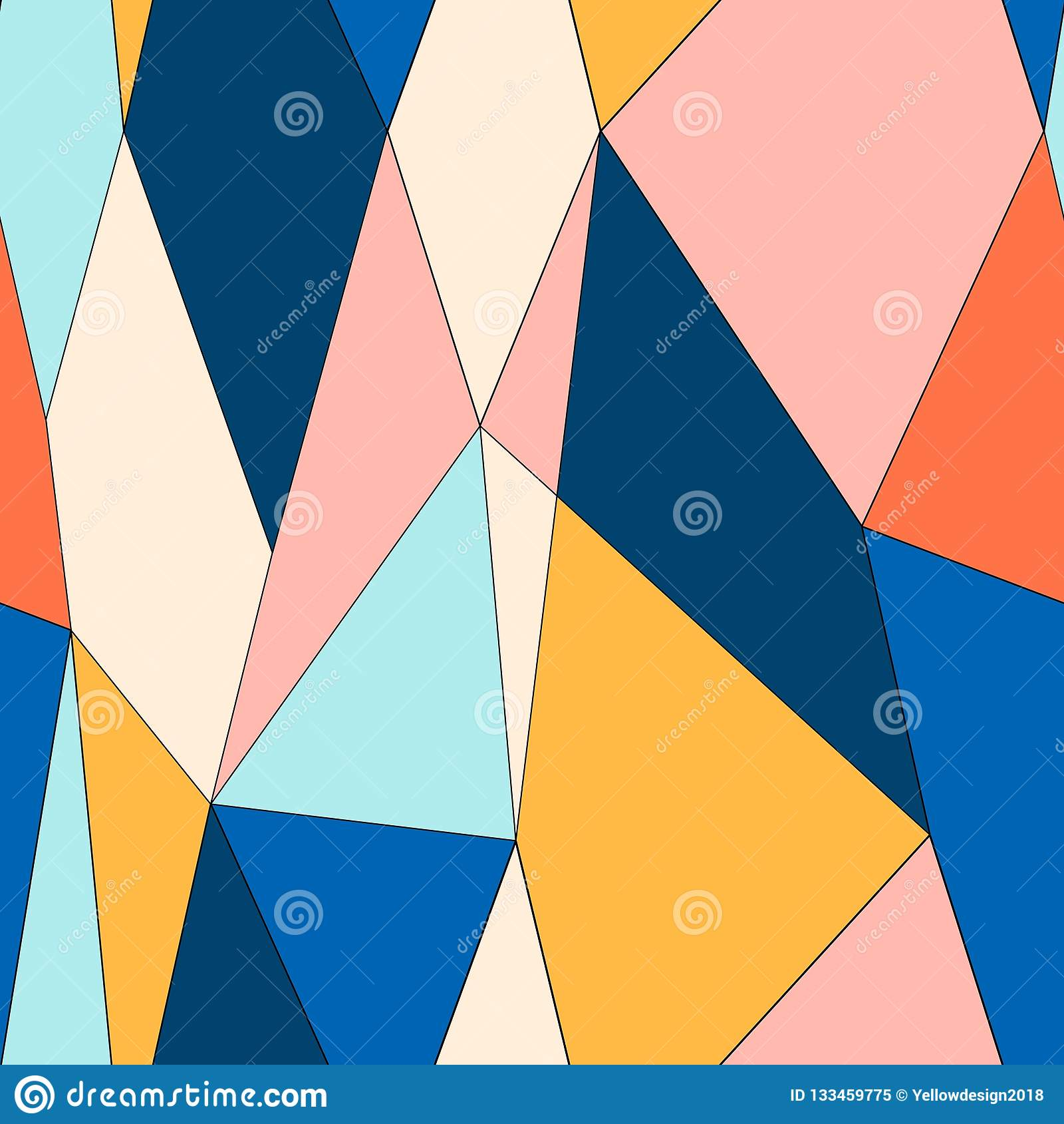 Abstract stained glass style seamless pattern. Polygonal low poly pattern