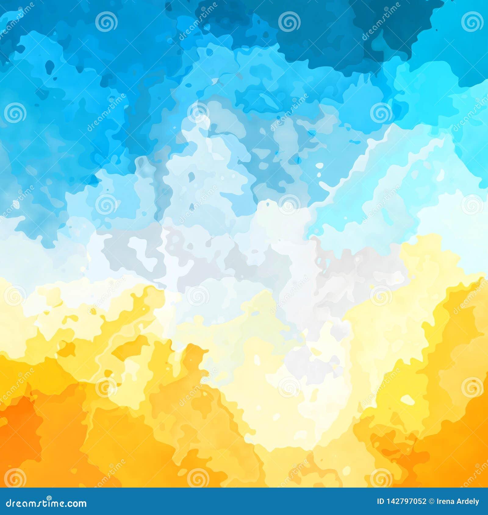 Modern Art Yellow And Blue