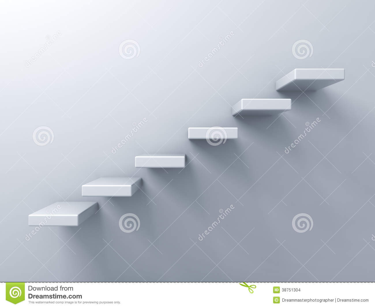 Abstract Stairs Or Steps Concept On White Wall Stock