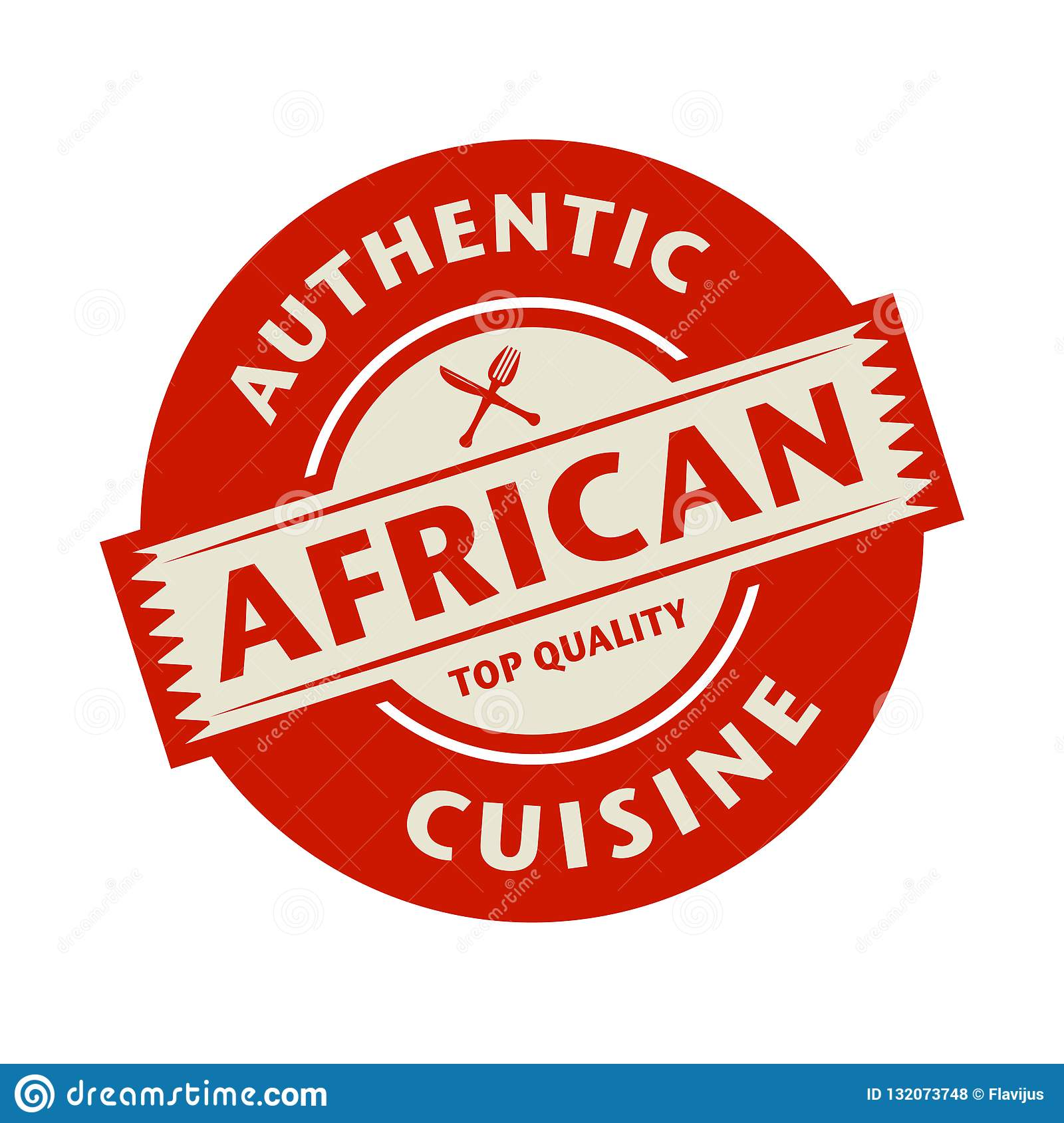 Abstract Stamp With The Text Authentic African Cuisine Stock Vector Illustration Of Restaurant Food 132073748