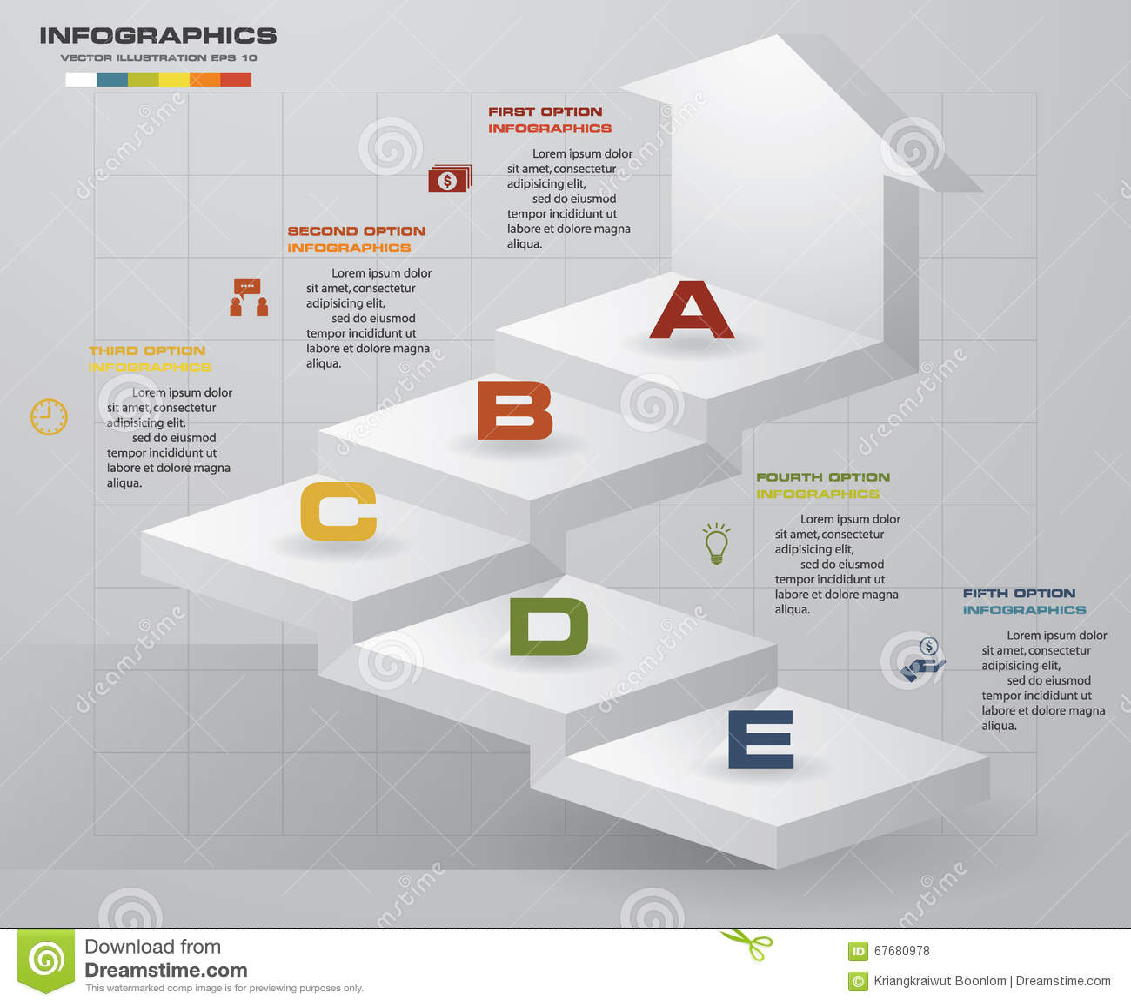 Abstract 5 stappen bedrijfspresentatiemalplaatje Infographics van 5 stappentrede met pijl