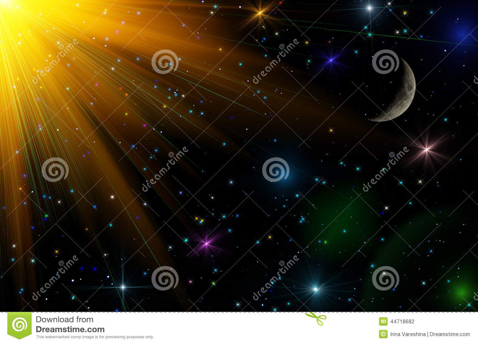 Abstract Stars Sky Moon Background Stock Photo Image