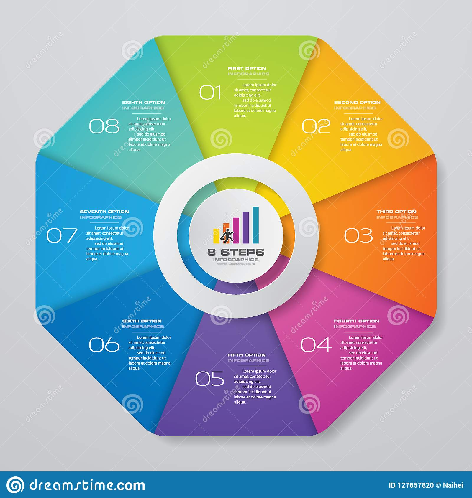 Abstract 8 steps cycle chart infographics elements.