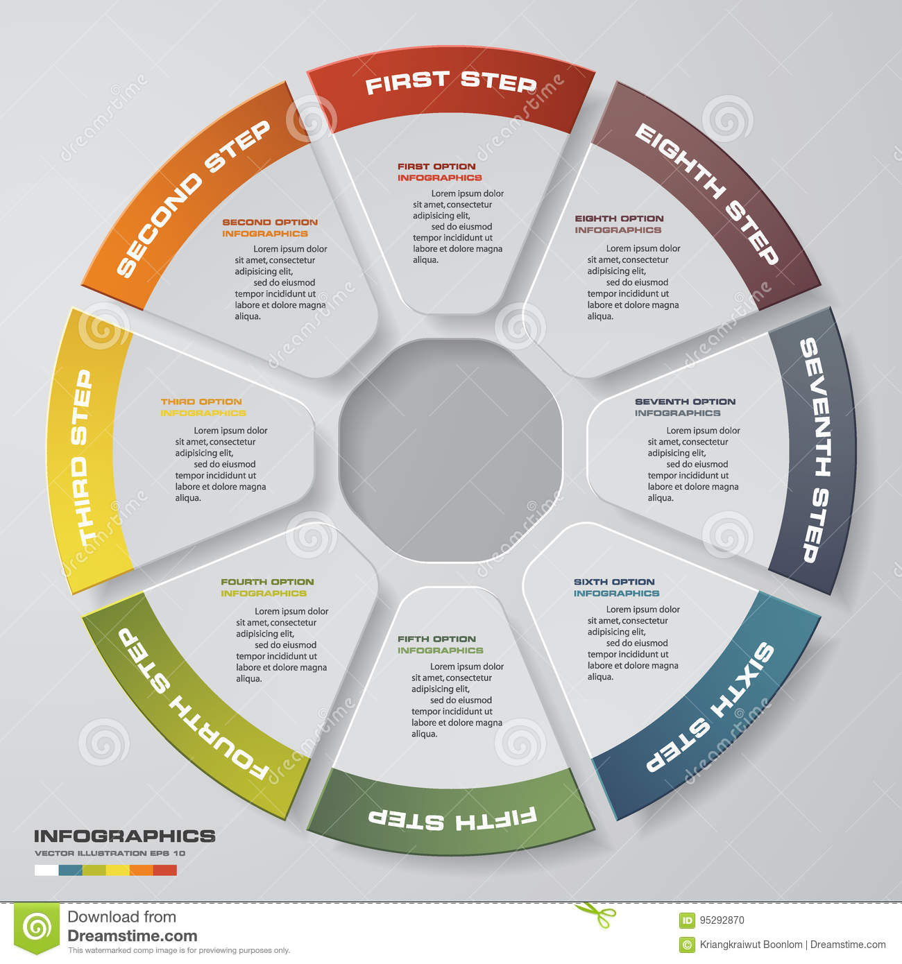 Abstract 8 steps modern pie chart infographics elements.ช