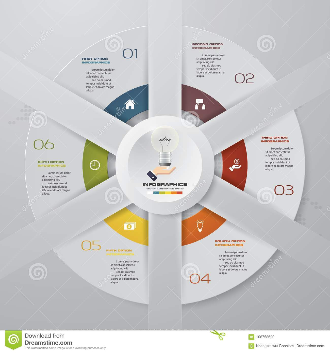 abstract 6 steps modern pie chart infographics elements vector