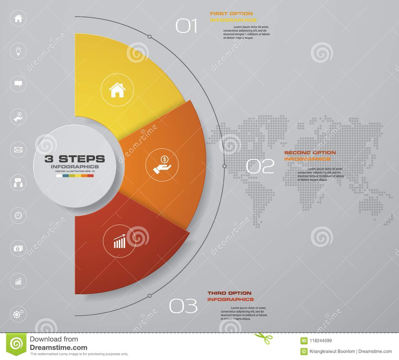 abstract 3 steps modern pie chart infographics elements vector