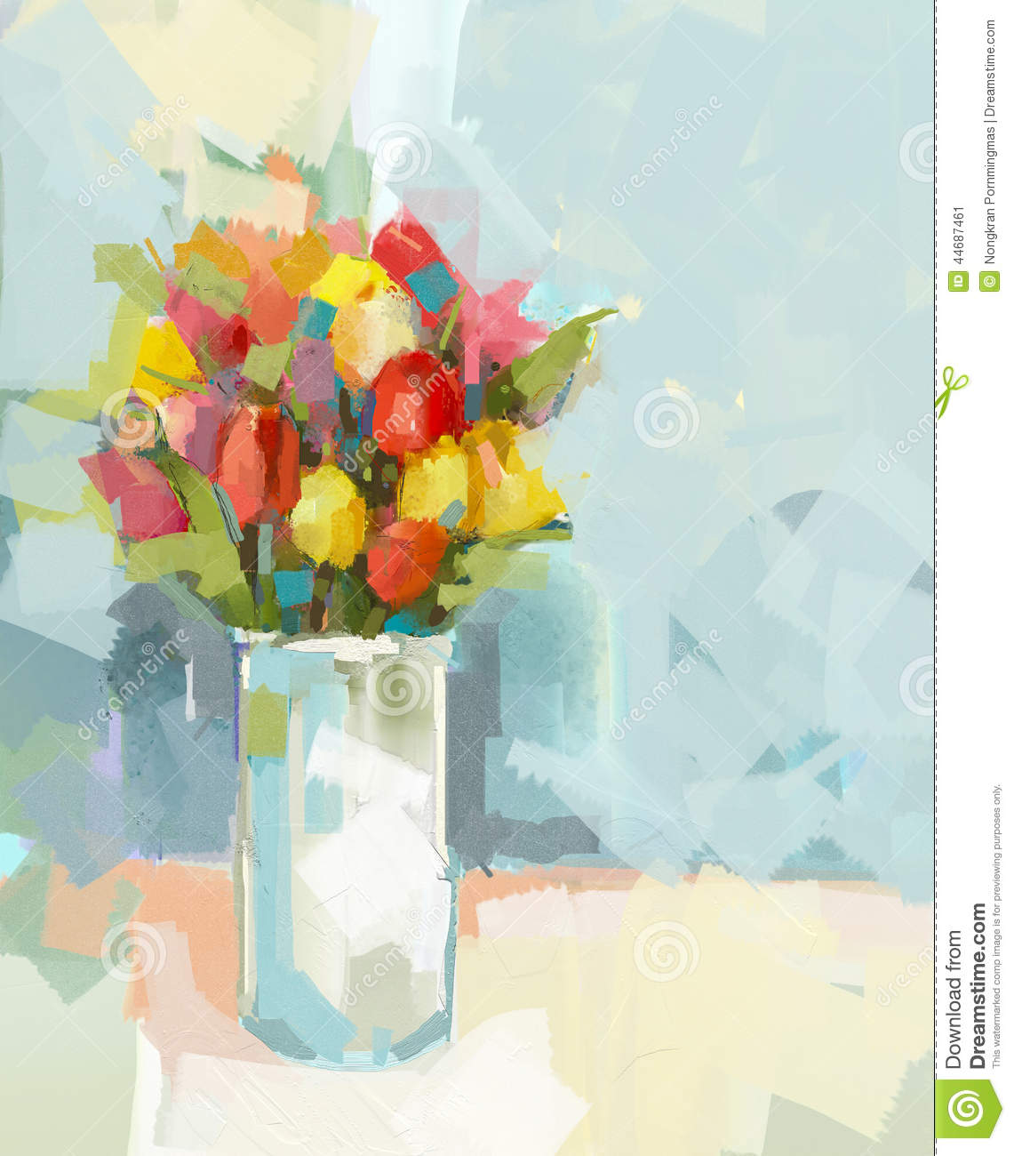 Abstract Still Life Bouquet Of Flowers Oil Painting Stock