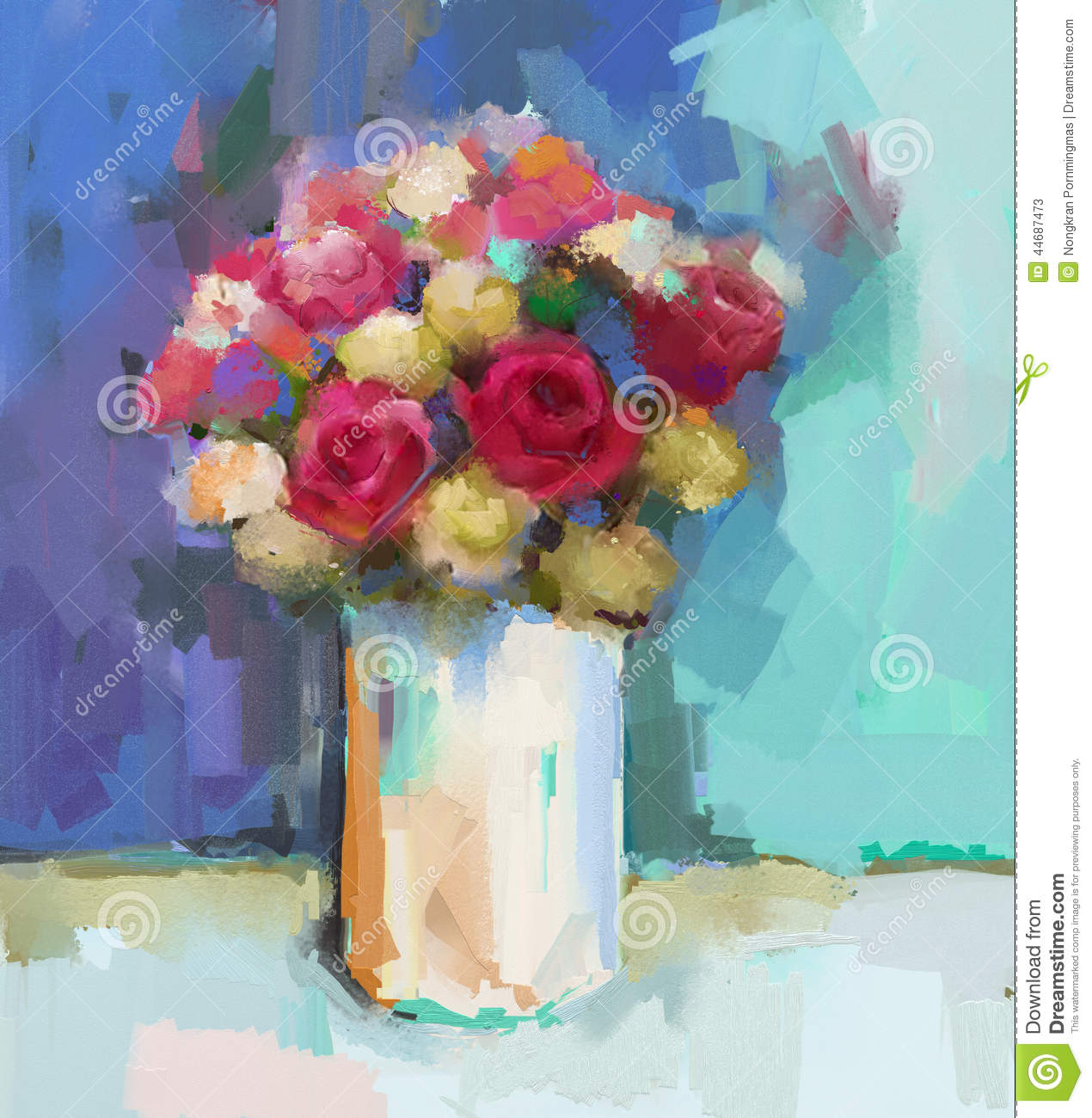 Oil Painting Abstract Still Life Bouquet Of Rose Flowers Stock ...