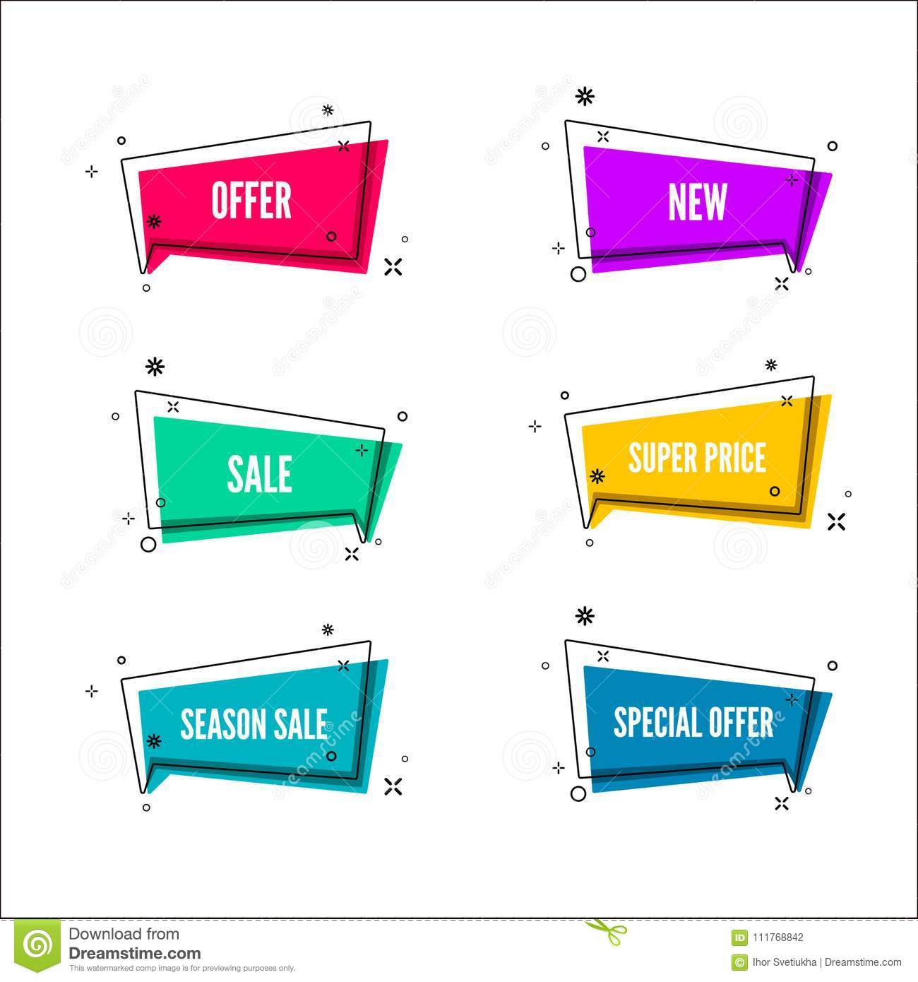 Abstract store offer banners. Colorful bubble with promotion text. Set of geometric promo template. Vector