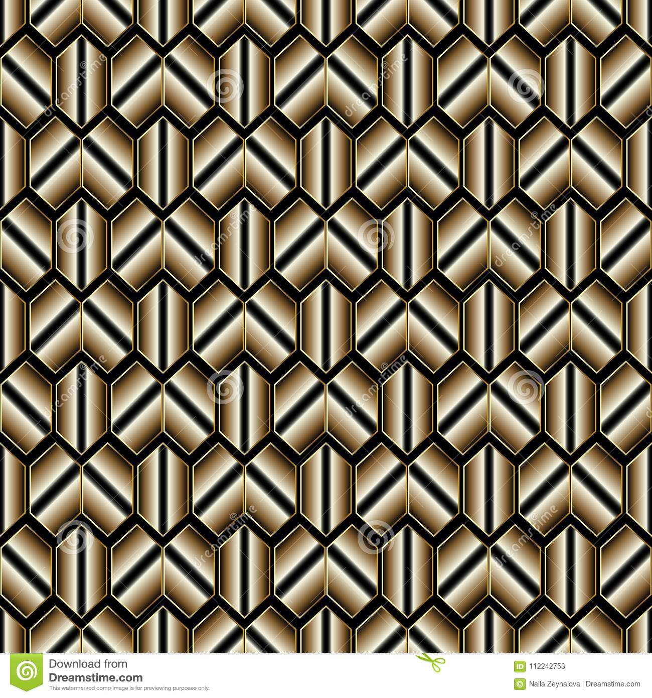 Modern Vector Black And Gold Honeycomb Background Luxury 3d Wallpaper Surface Ornamental Texture Stylish Design For Fabric Textile Wrapping Prints