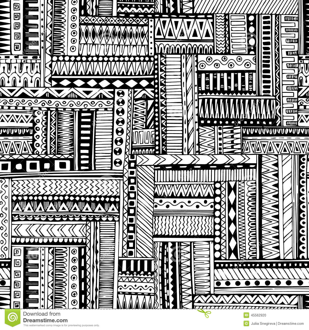 Abstract striped textured geometric tribal seamless pattern. Vector black and white background. Endless texture can be used for wa