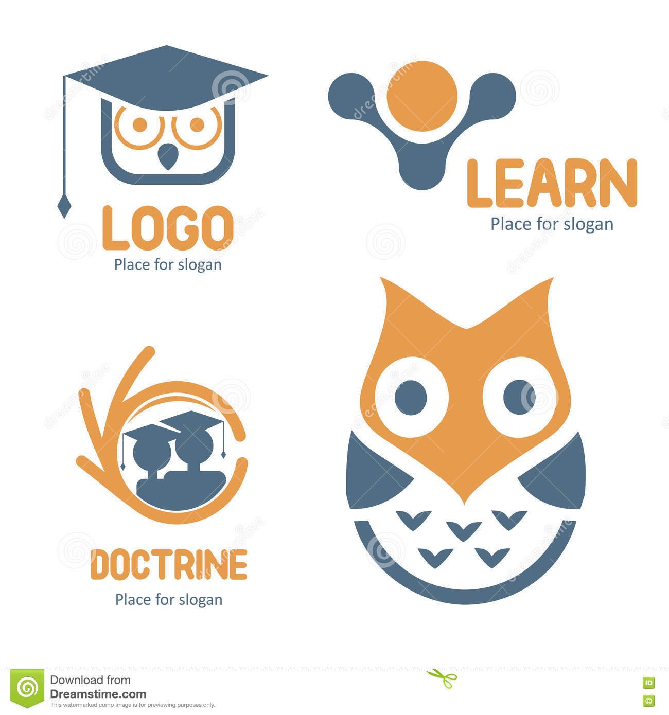 abstract studying vector logo set. Cartoon owl character logotypes collection. Education icons. School and