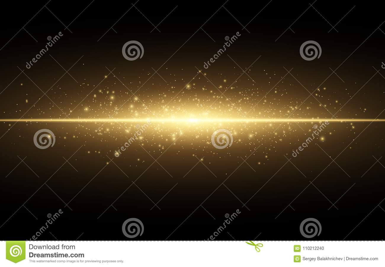 Abstract stylish light effect on a black background. Gold glowing neon line. Golden luminous dust and glares. Flash Light. luminou