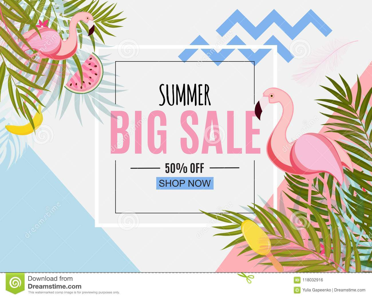 Abstract Summer Sale Background With Palm Leaves And