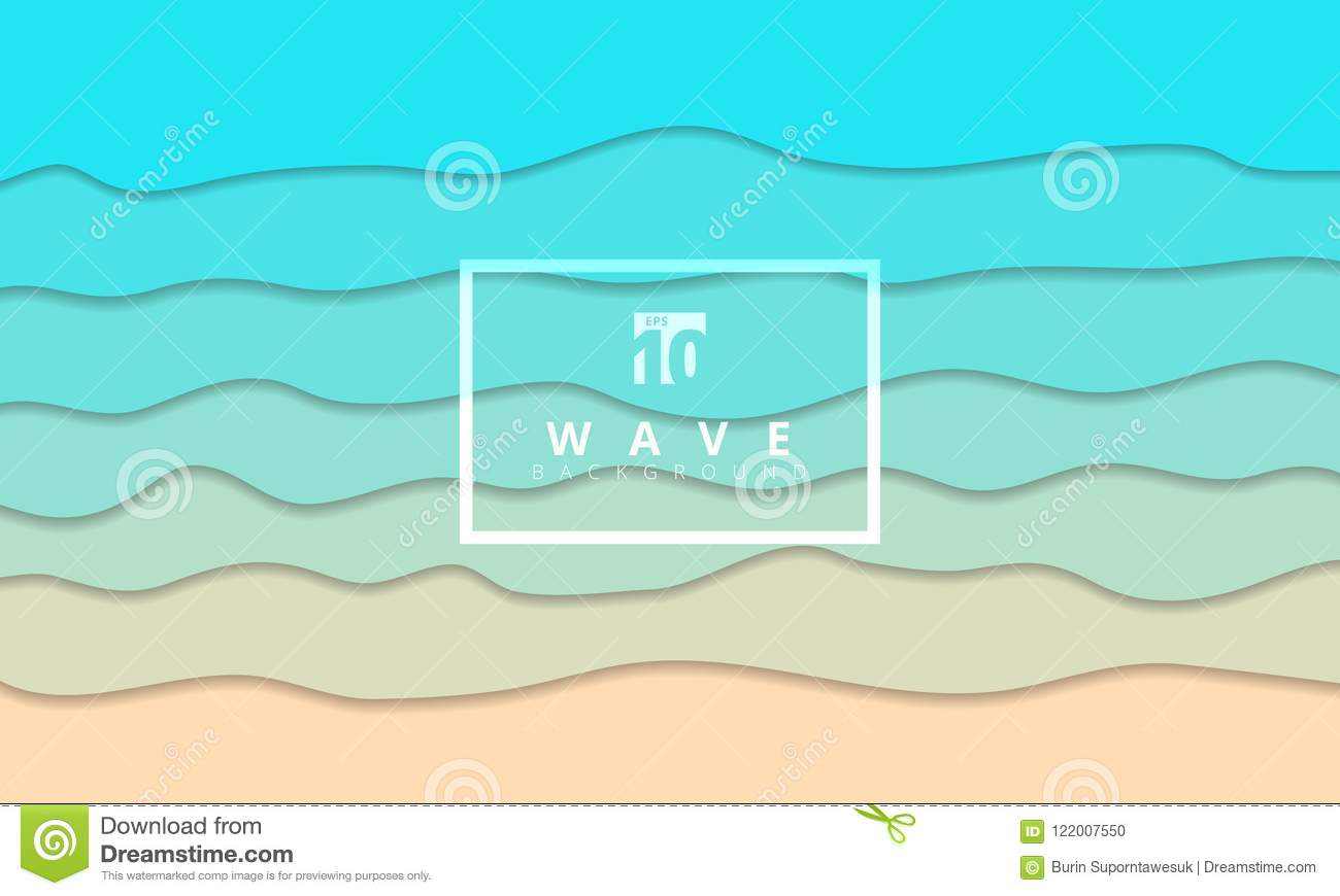 Abstract summer wave blue seacoast background paper cut style.