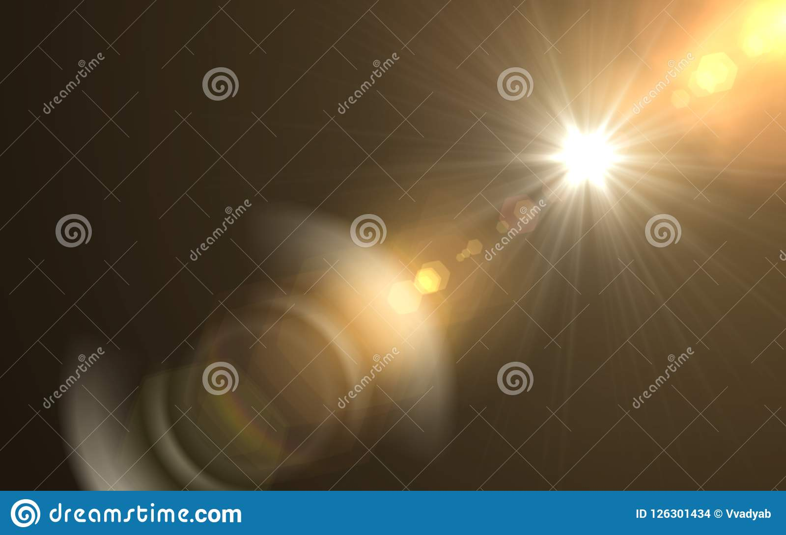 Abstract sun burst with digital lens flare background.Abstract digital lens flares special lighting effects on black