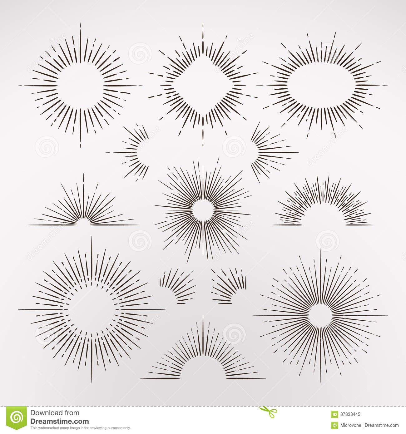 Abstract Sun Burst Rays With Border And Frames Vintage Art Vector ...