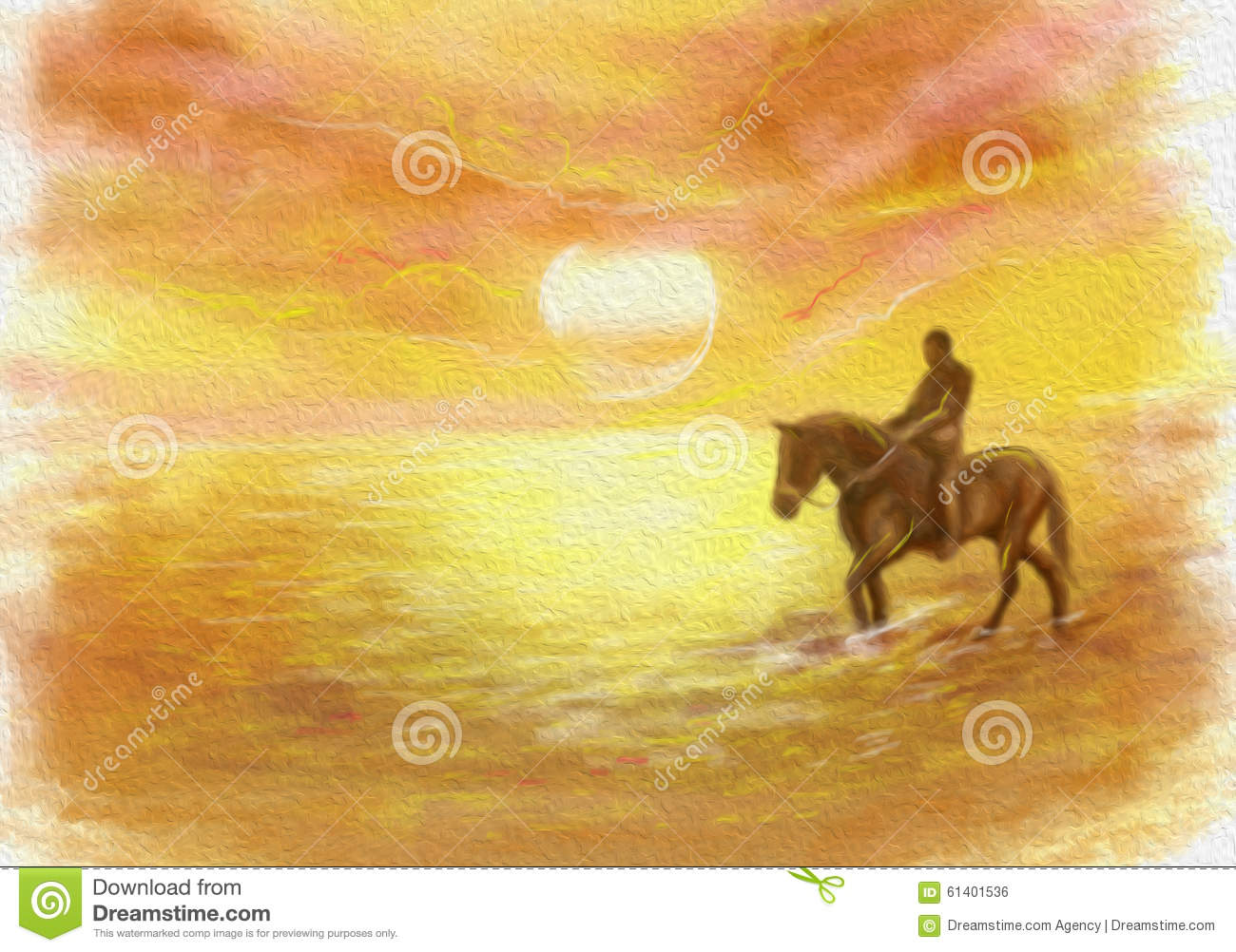 Abstract Sunset, driving on a horse Illustration