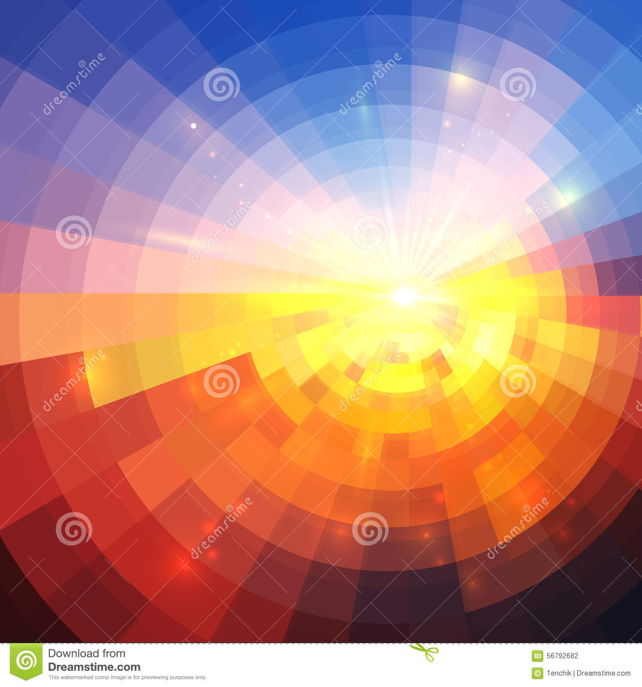 Abstract Sunset Effect Technology Concentric Stock Vector
