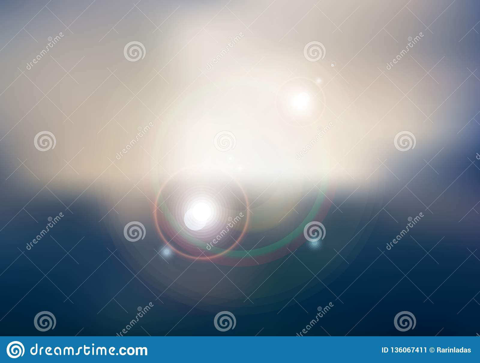 Abstract sunset or sunrise sky and sun shining blurred background with flare