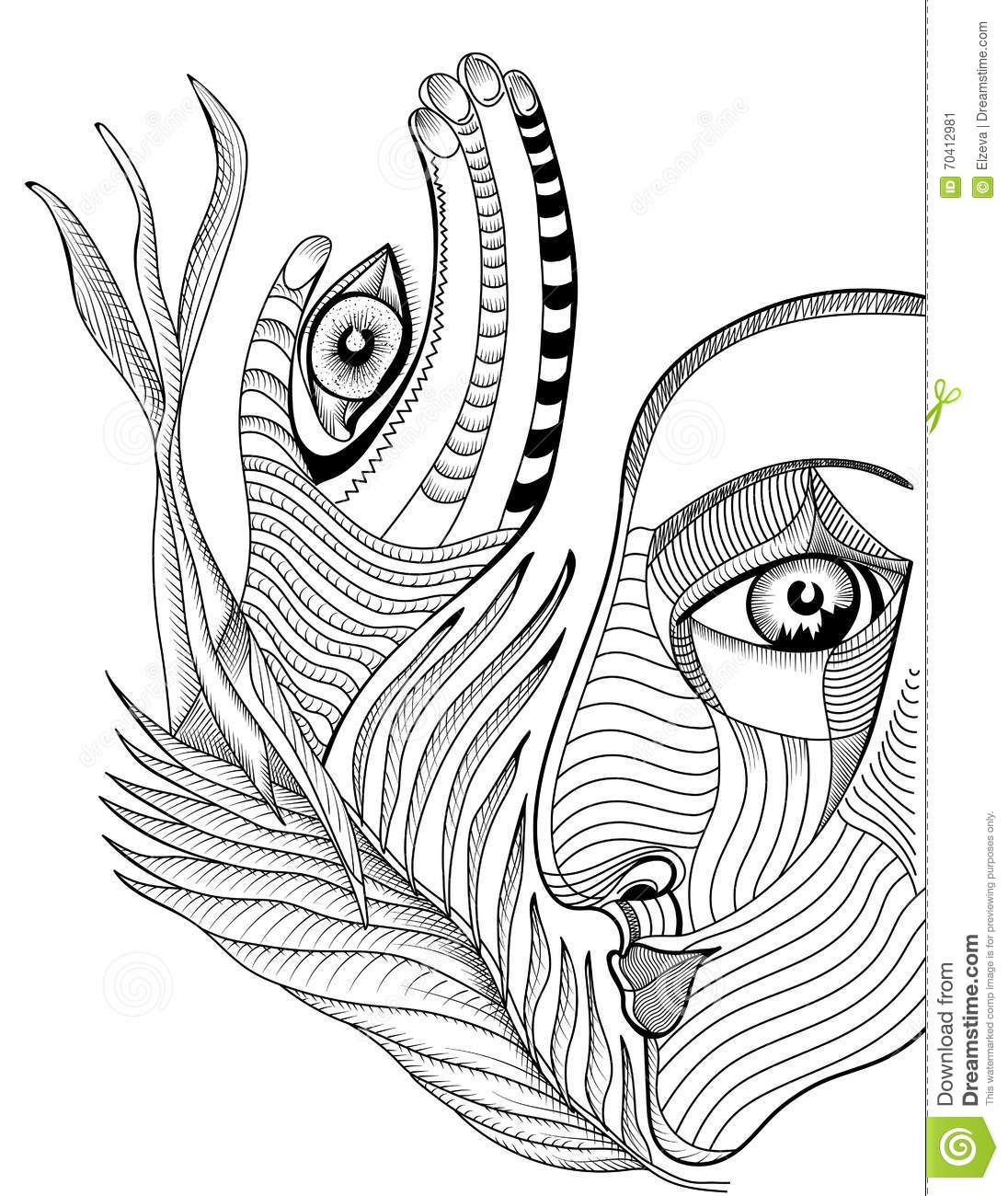 Drawing Lines Using Svg : Abstract surreal face and hand with mehndi tattoo stock