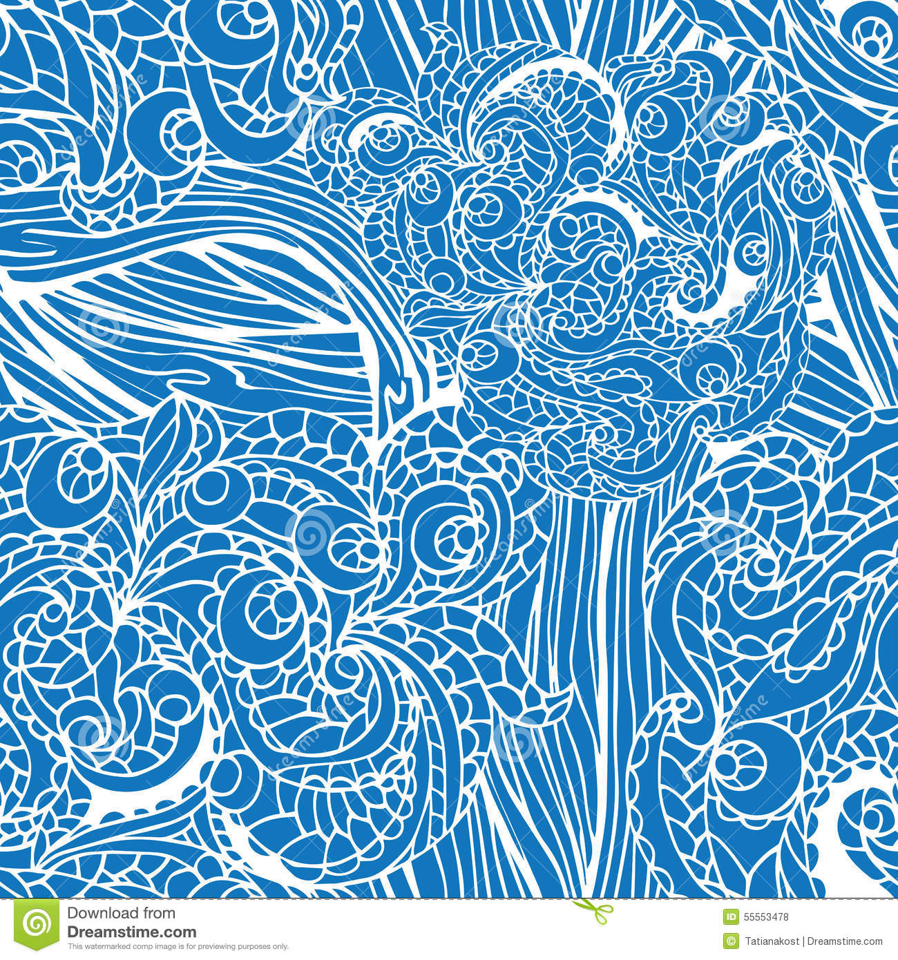 Blue Tribal Wallpapers: Abstract Swirl Ethnic Seamless Pattern.Outline Stock