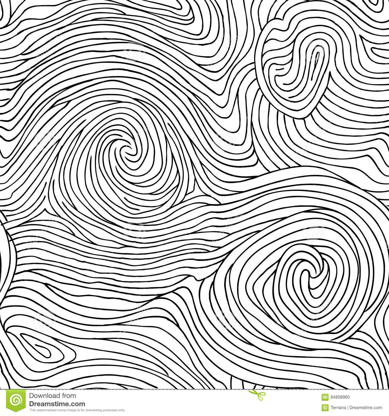 Line Art Texture : Abstract swirl line doodle seamless pattern wooden wave