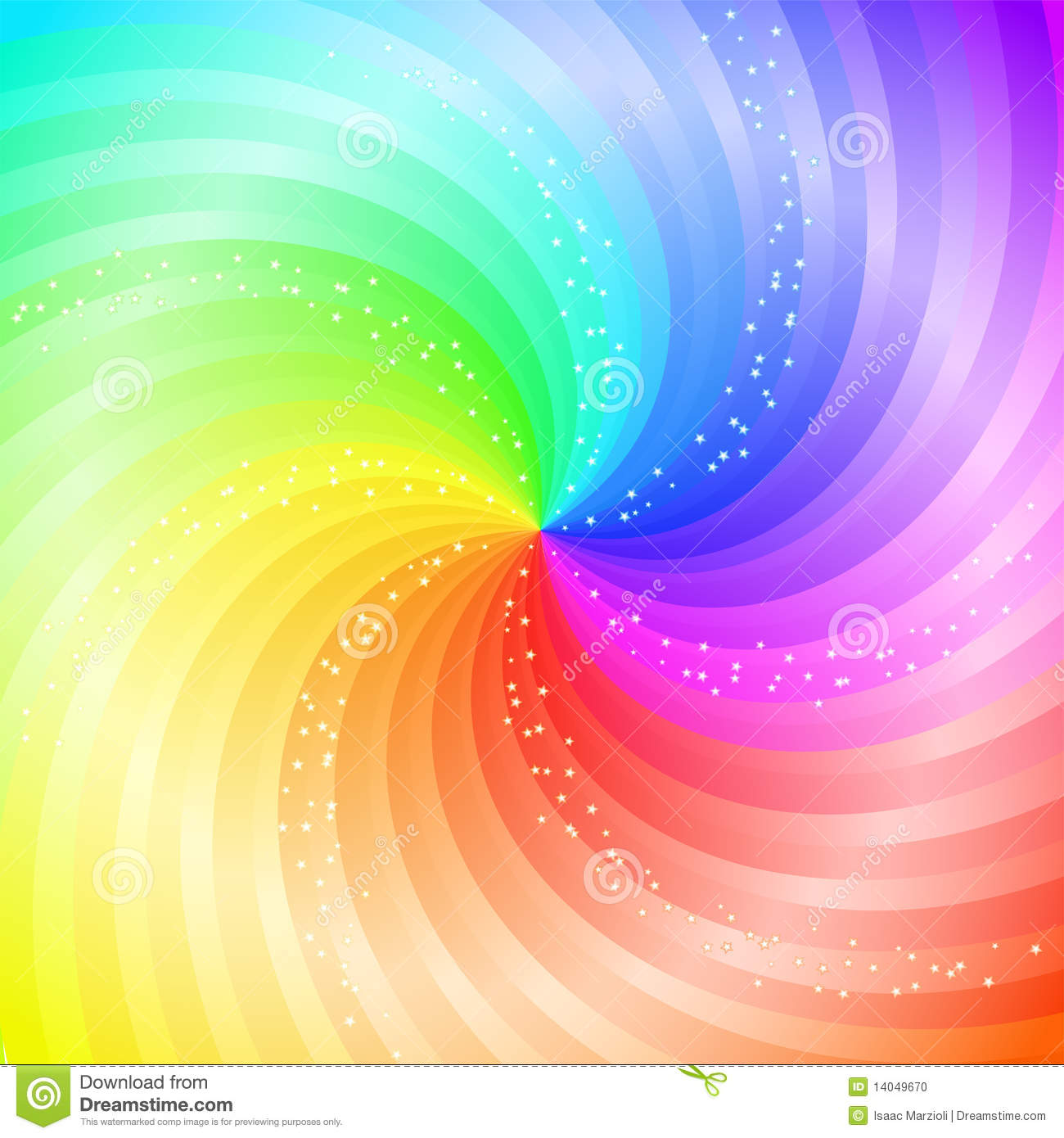 Abstract Swirling Rainbow Background Stock Vector