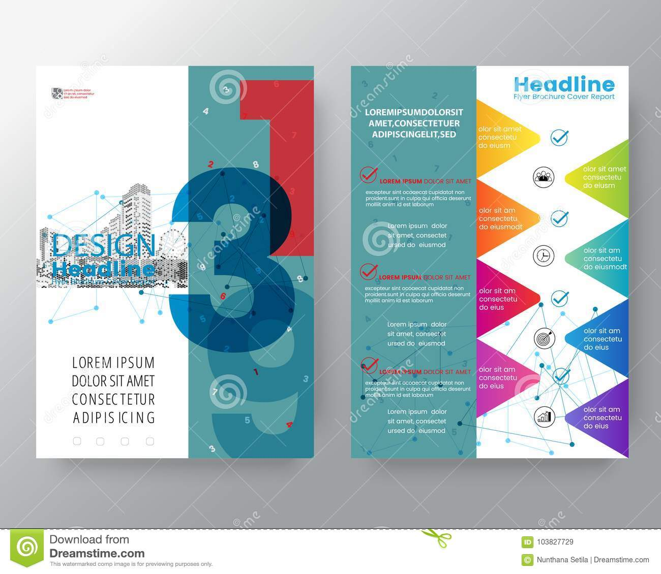 Abstract Swiss Style Graphic Background For Brochure Cover
