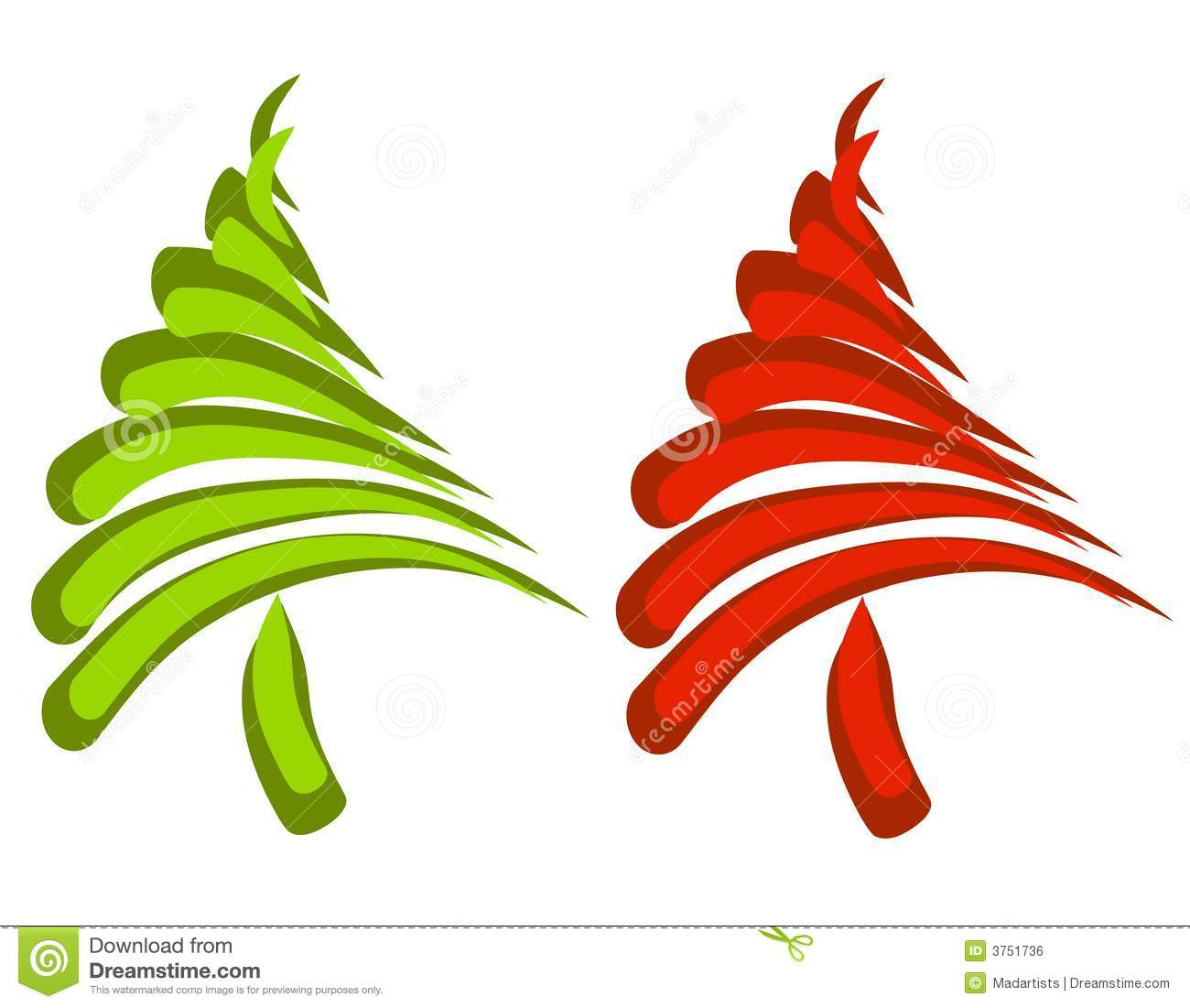 Abstract Swoosh Christmas Trees Royalty Free Stock Image ...