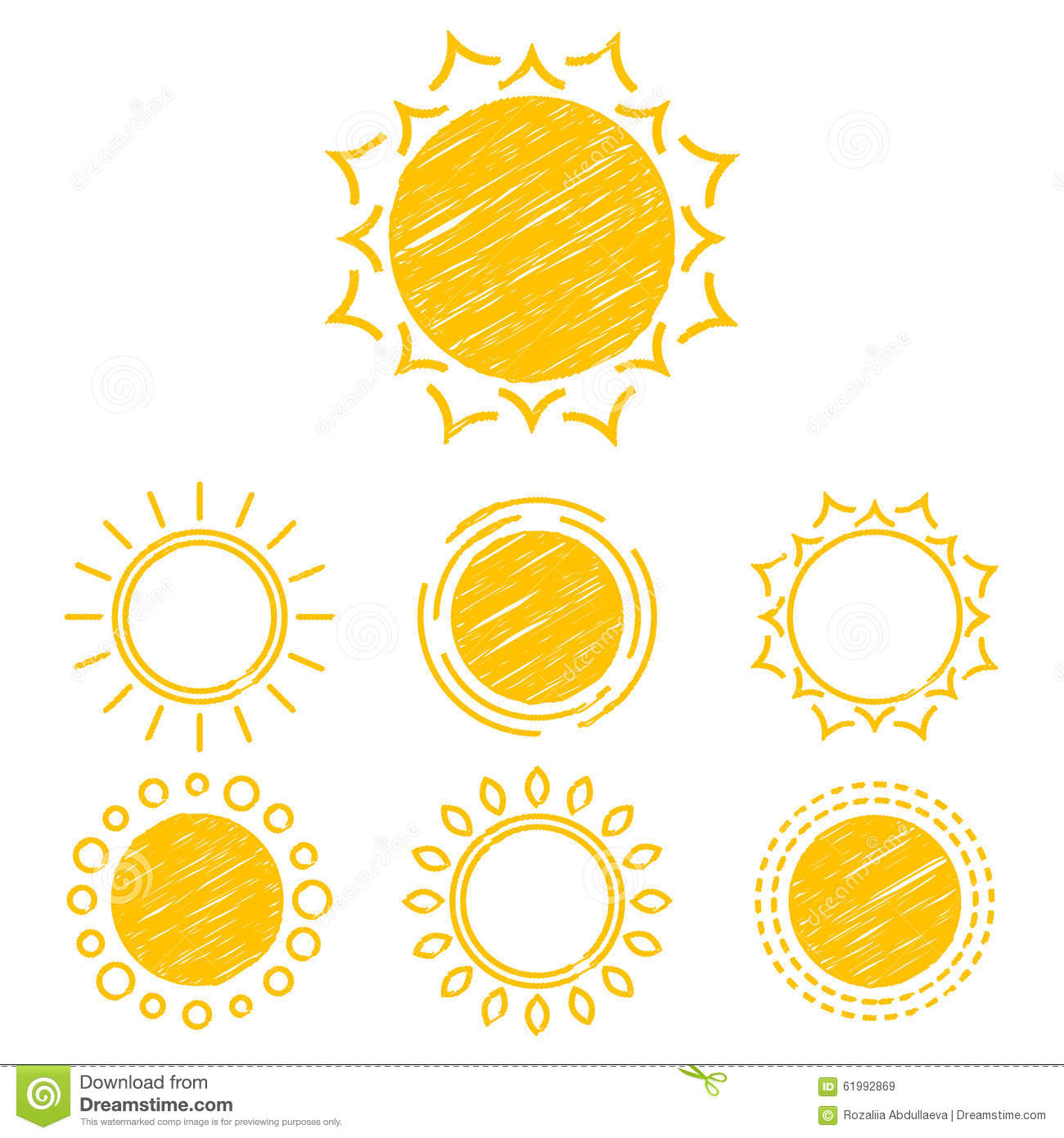 Line Drawing Sun Vector : Abstract symbols of the sun stock vector image