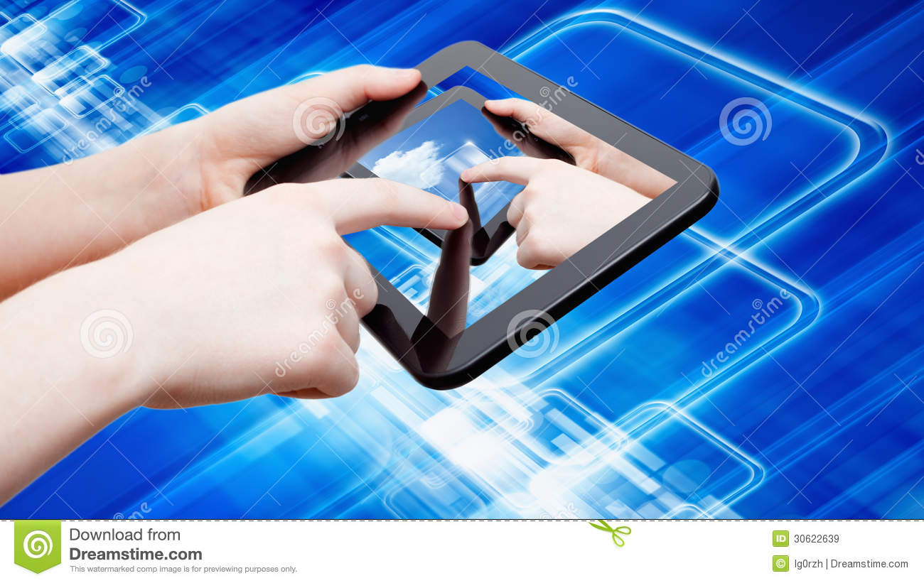 Abstract Tablet Computer In Hands Royalty Free Stock ...