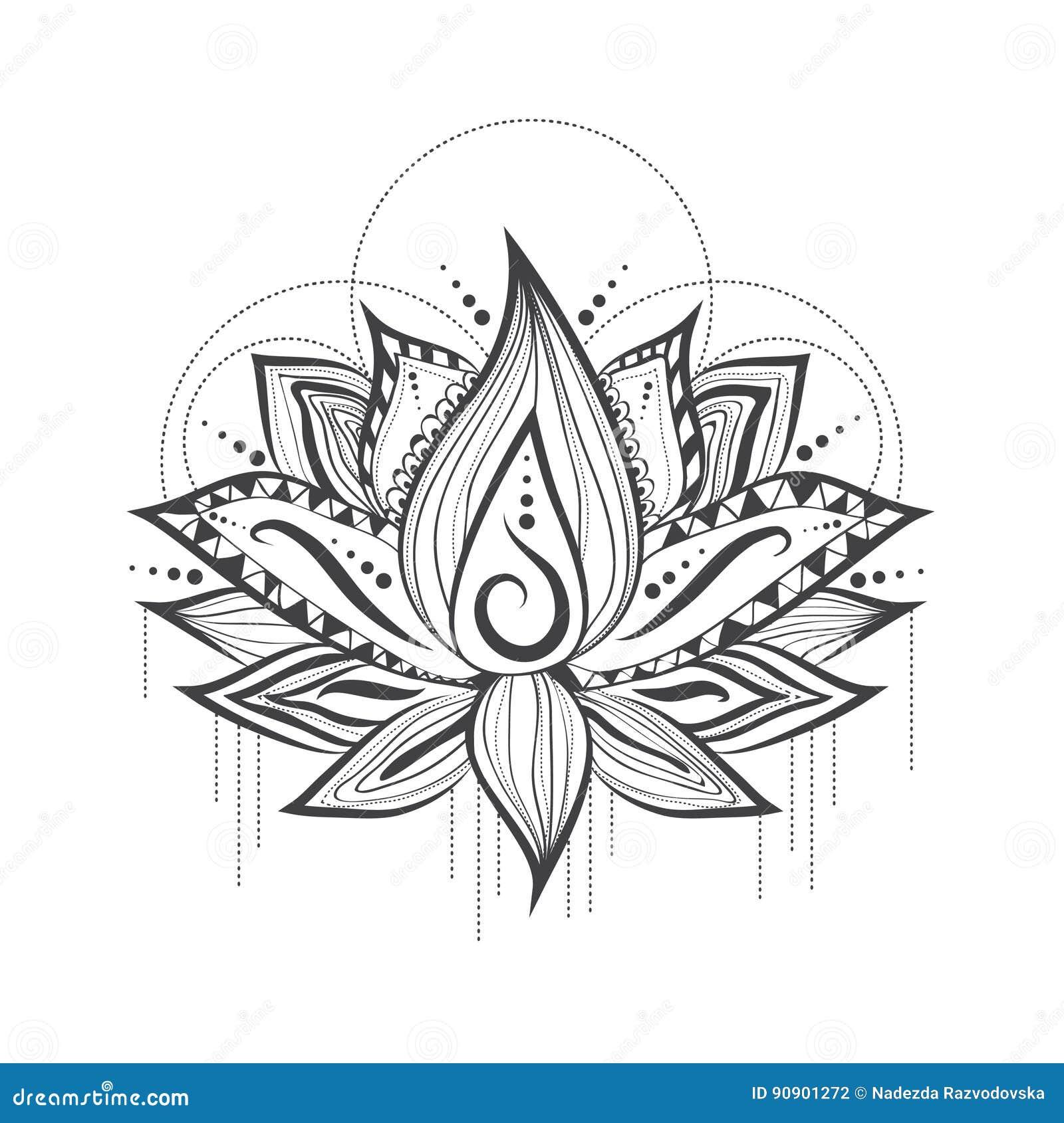 Abstract Tattoo Logo Design Of Lotus Flower Stock Vector