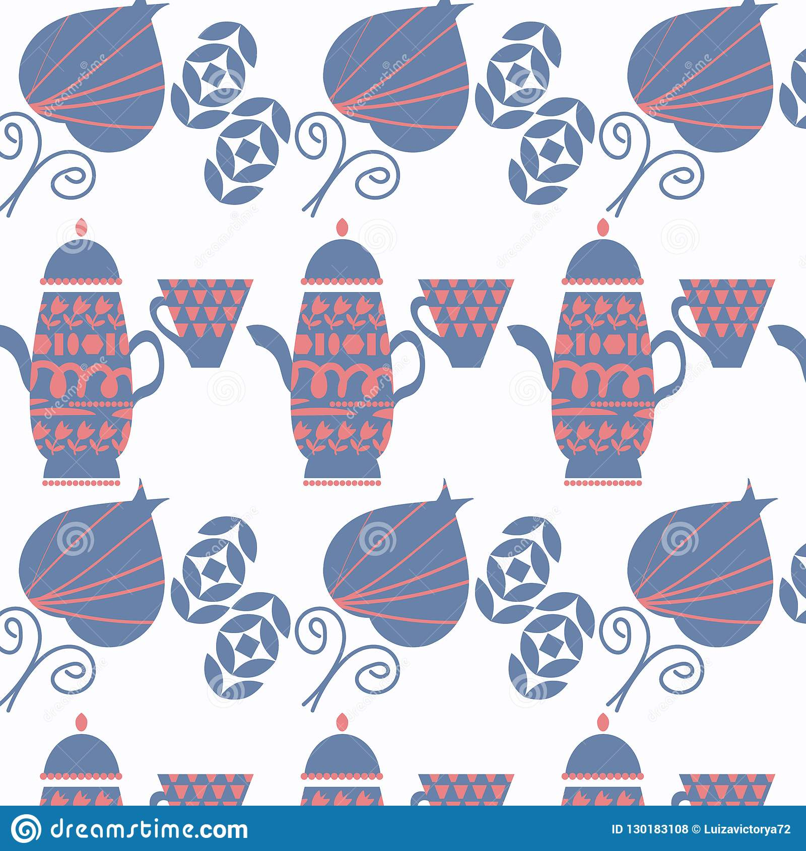 Abstract Tea Pot Vector Background With Leaves And Shapes ...