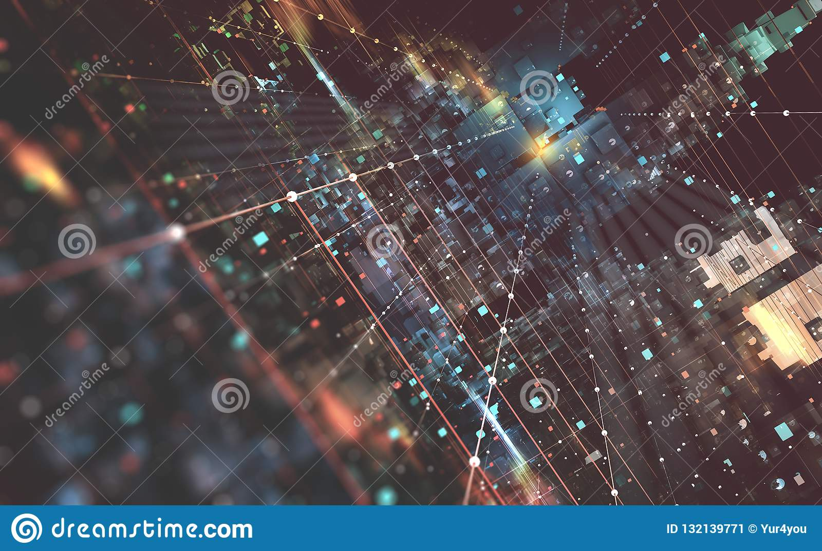 Abstract tech background 3D illustration. Quantum computer architecture. Fantastic night city