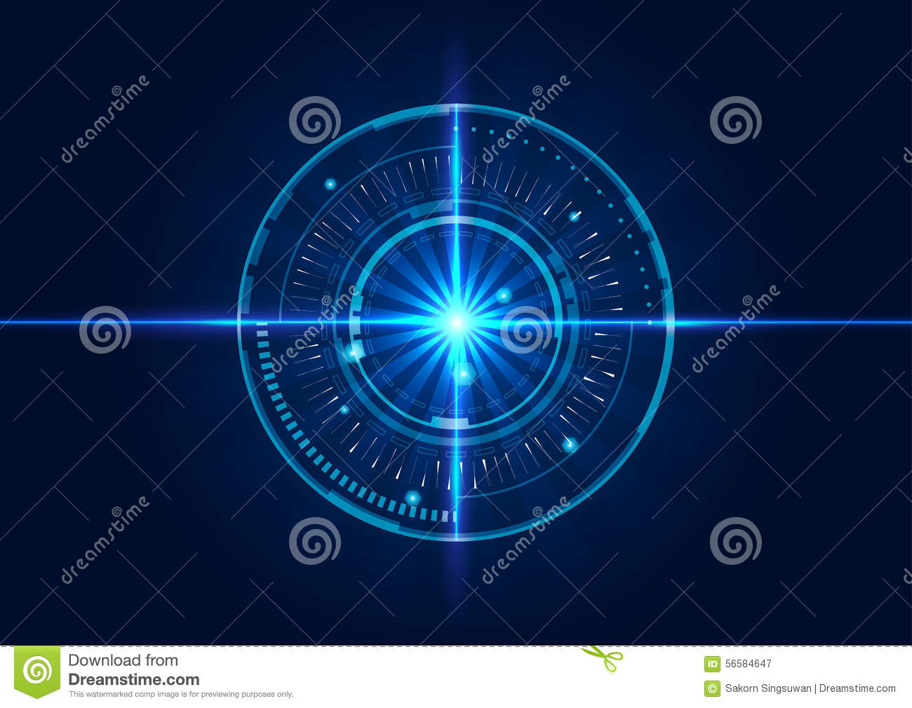 Abstract Technology Background With Light Effect: Abstract Tech Circles Background Design With Light Effect