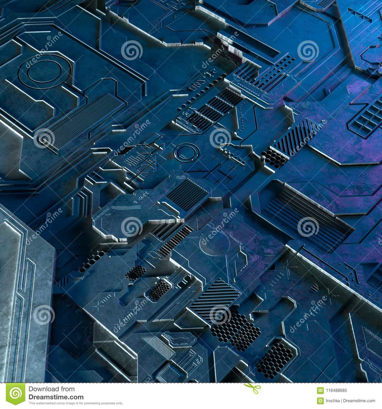 Abstract Technological Background Made Of Different Element Printed Designing A Circuit Board And Getting It Flares 3d Rendering