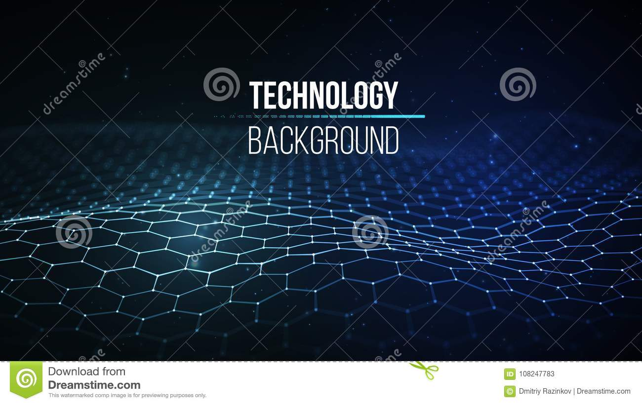Abstract technology background. Background 3d grid. Cyber technology Ai tech wire network futuristic wireframe