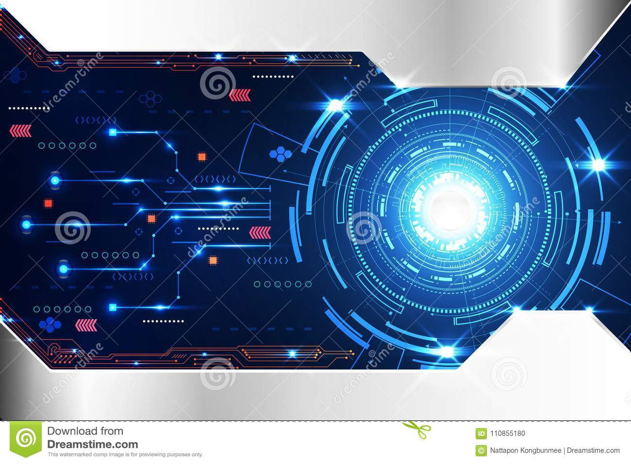 Abstract Technology Background Concept Circle Circuit Digital Me Board And Binary Code Stock Vector Clipart Transmission Of Royalty Free