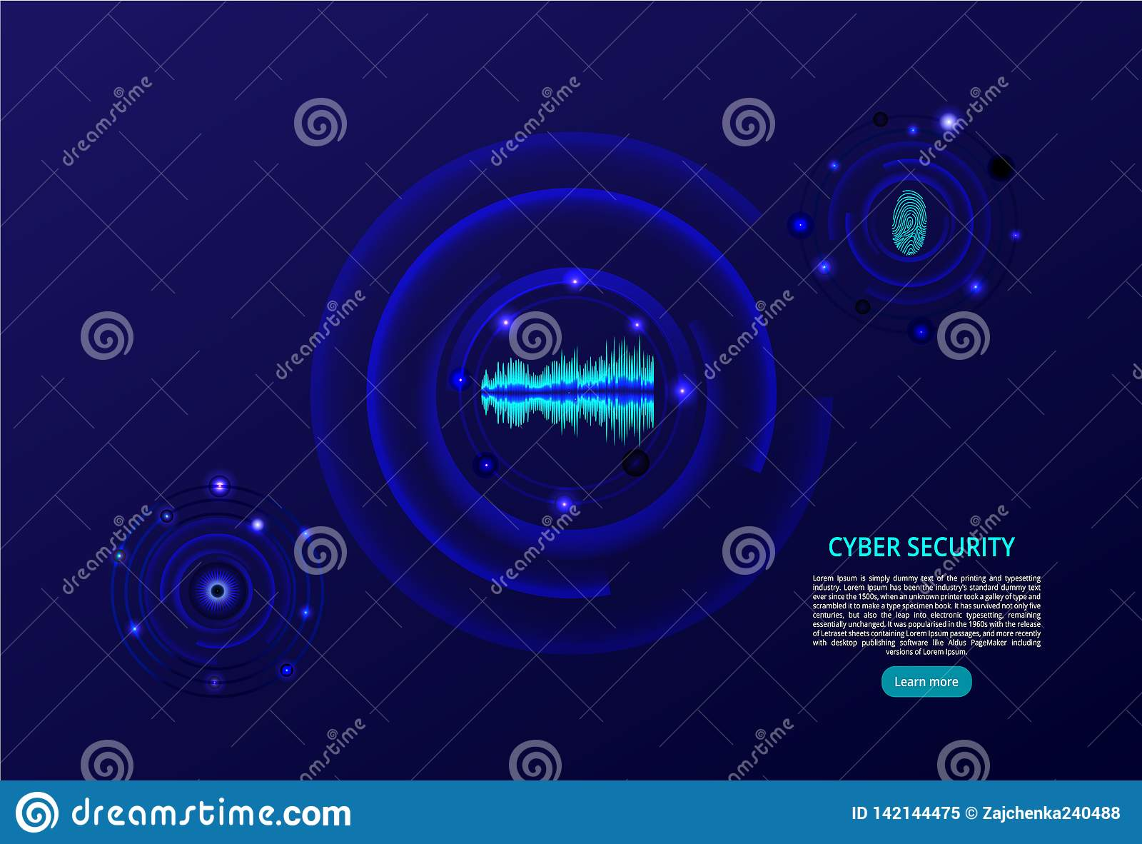 Abstract technology background. The concept of cybersecurity. Fingerprint, eye and voice scan - vector illustration.