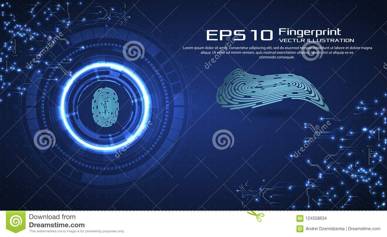 Abstract technology background. Cyber security concept. Finger Scan in Futuristic Style. Biometric id with Futuristic