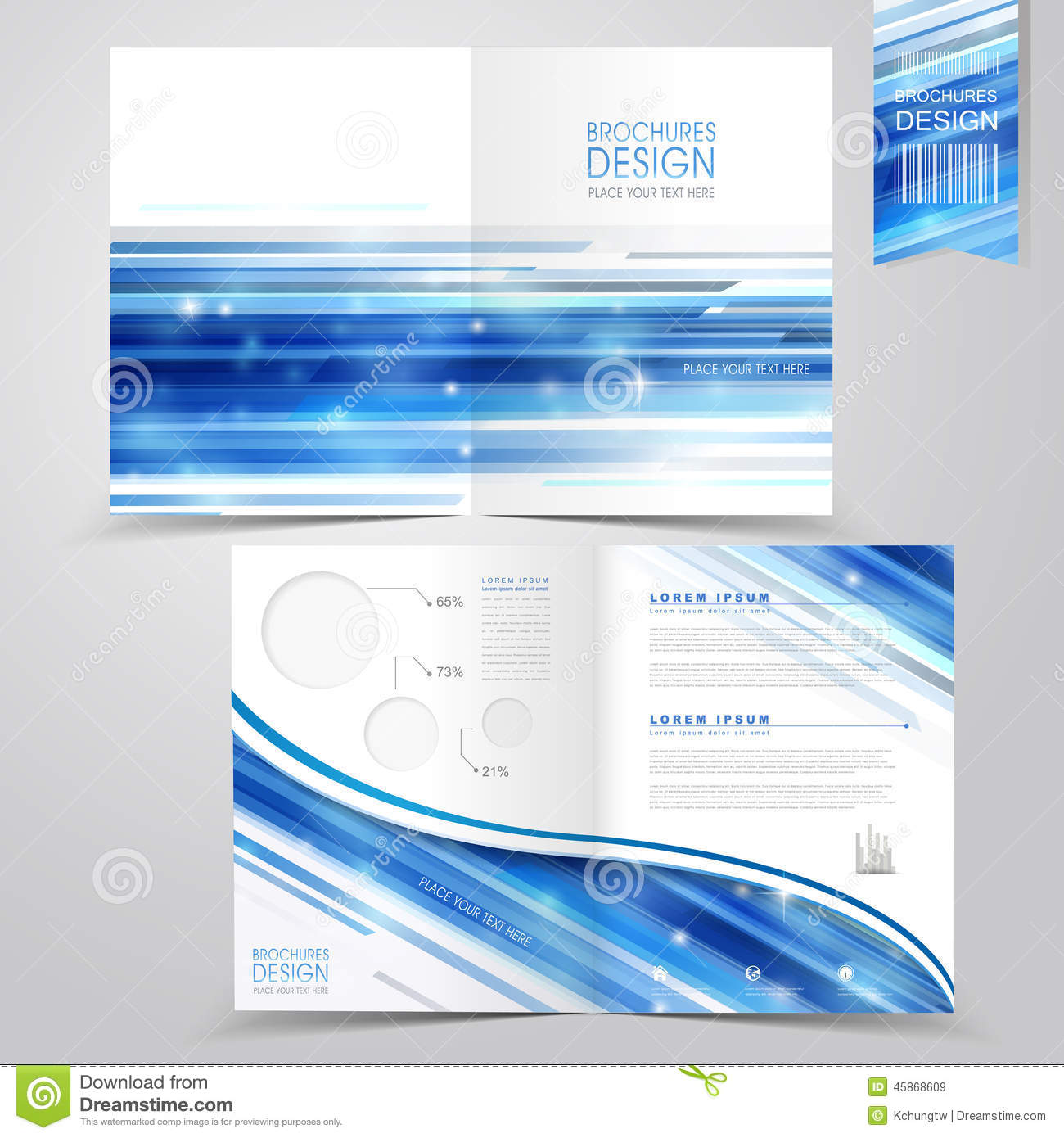 abstract technology background design for half fold brochure stock