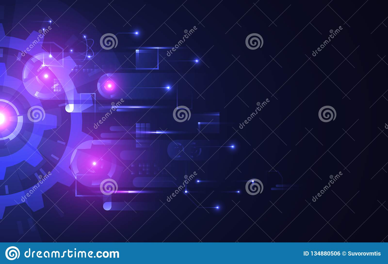 Abstract technology background. Futuristic glowing gears on dark backdrop. Hi-tech concept with bright connections