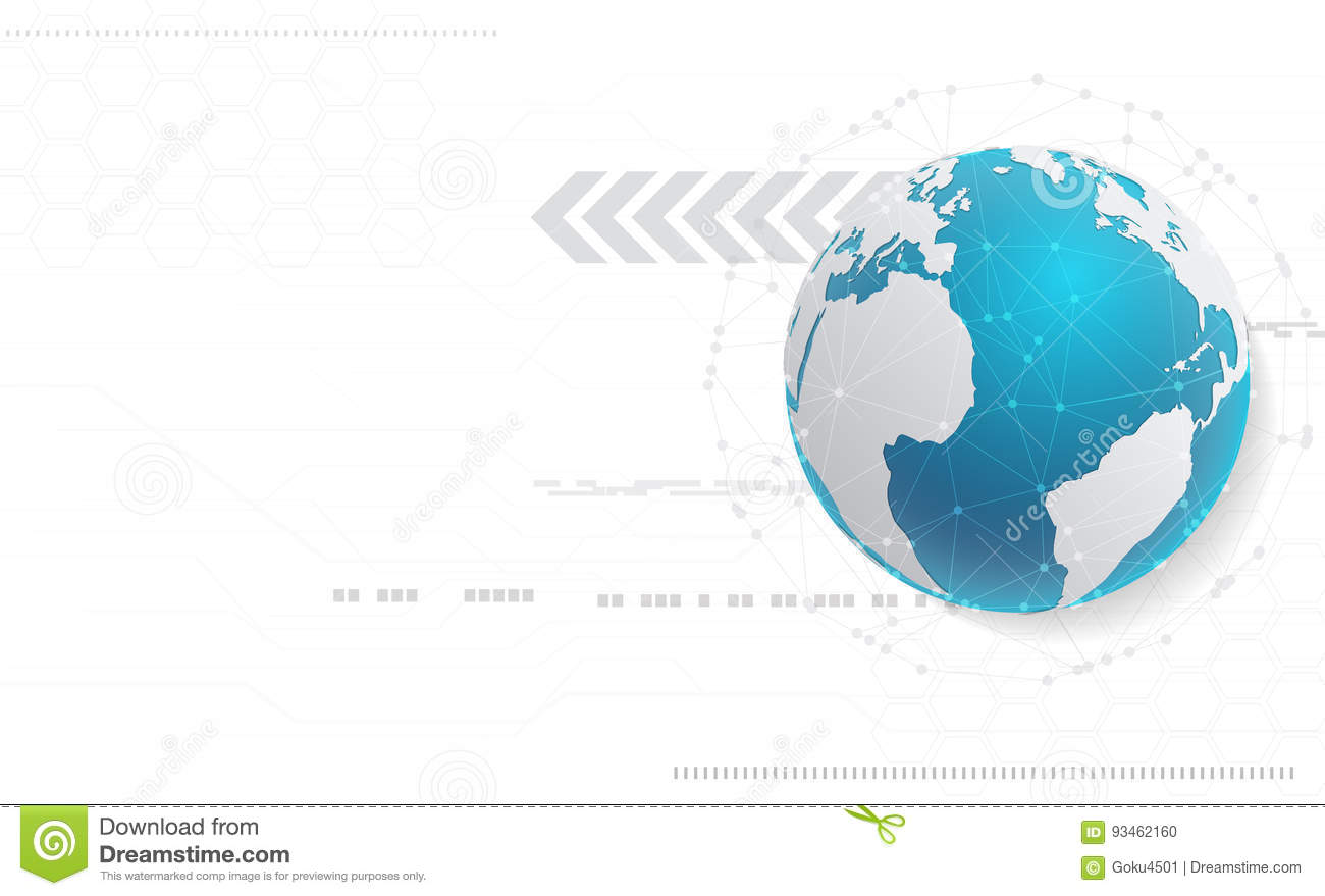 Abstract technology background and global network concept with v