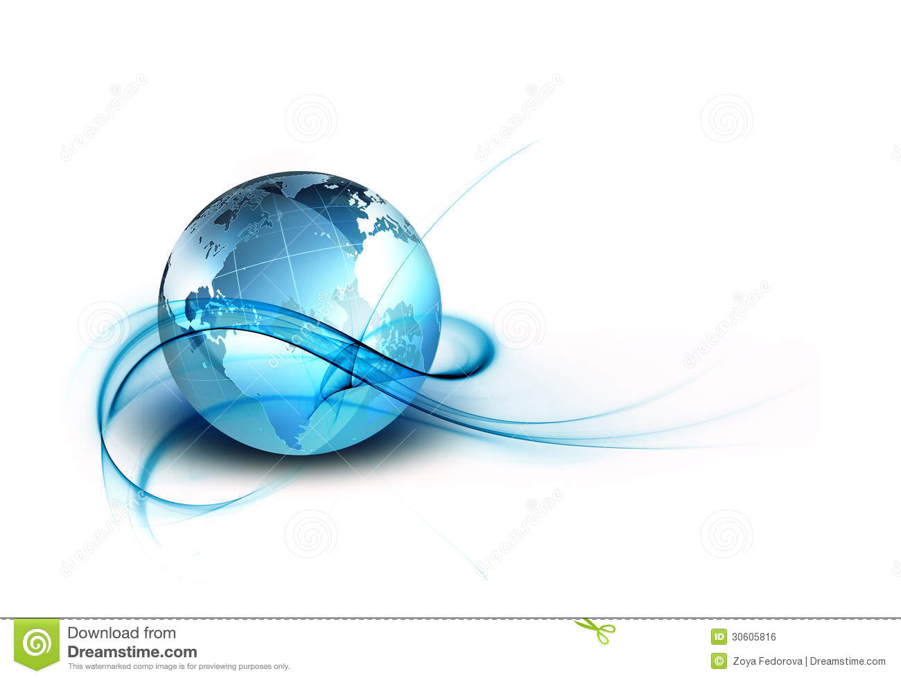 Abstract technology background with the planet on a white backdrop.