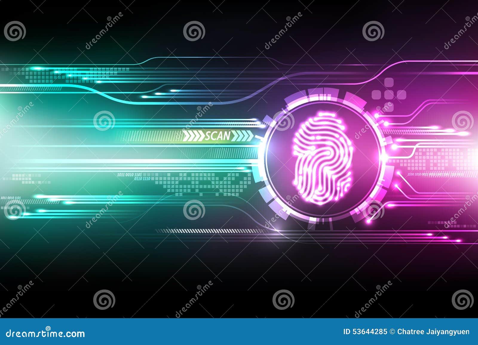 Abstract Technology Background Security System Concept Fingerprint Letter P Sign Vector Illustration