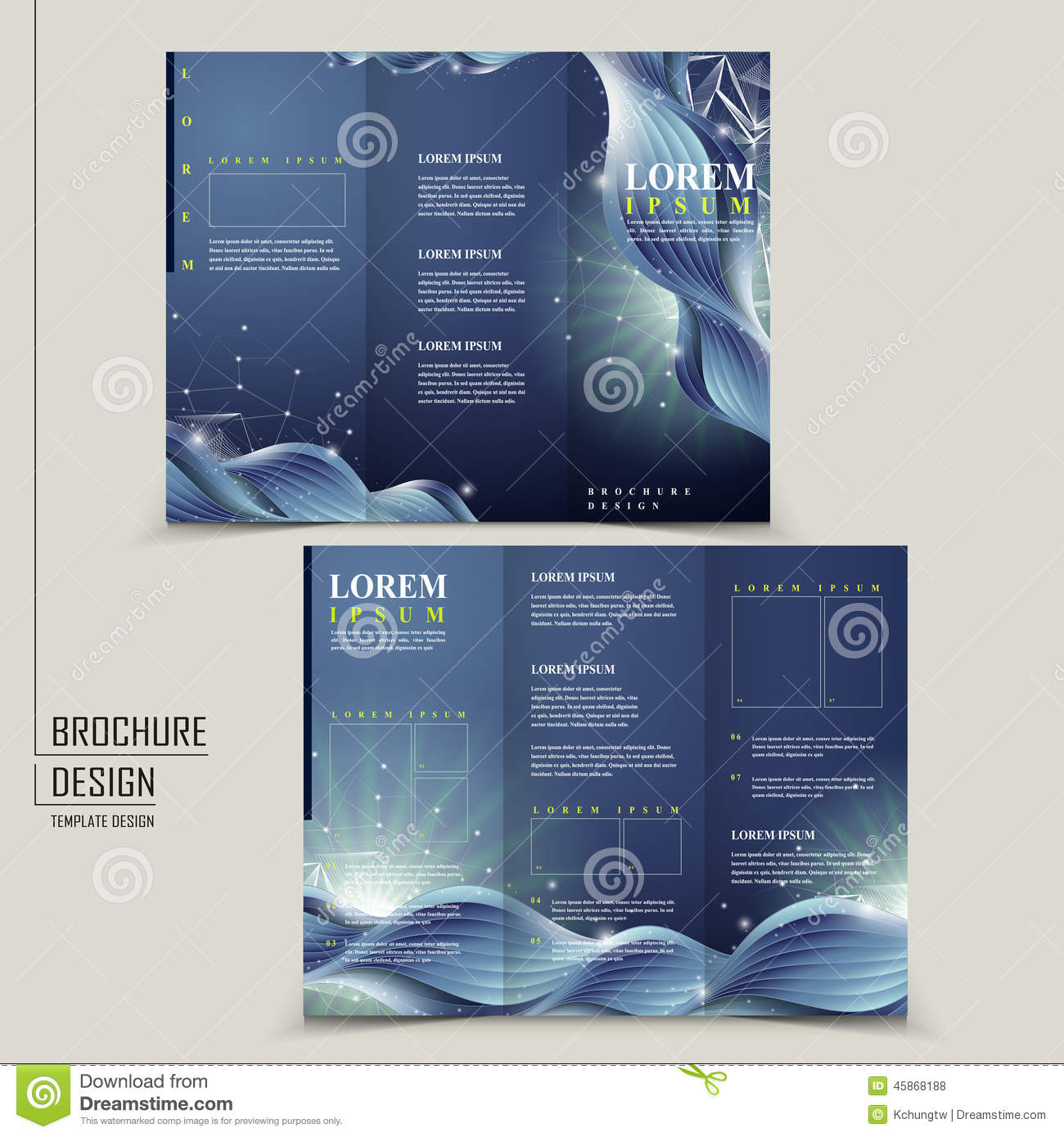 Abstract technology background for tri fold brochure stock for Technology brochure template